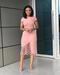 Women'S Fashion Dresses Lace Stitching Zipper Commuter Large Size Dress With Boutonniere Pink xl