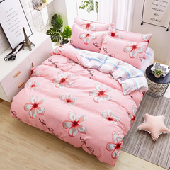 New Fashion Bedding Set 4pcs Duvet Cover(No Duvet) Pillowcases And Flat Sheet Home Bedroom a-color as picture 2.0m-bed