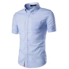 Fashion Mens Dress Casual Slim Fit Short Sleeve Polo-Shirts100%cotton blue m