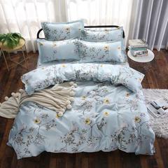 4Pcs Bedding Set (1 Duvet cover+1 Bed sheet+2 Pillow covers) Super Wash Padding Cotton Elasticity a-color as picture 2.0m (6.6 ft) bed