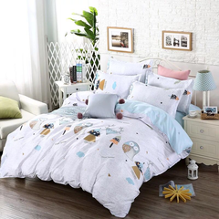 4Pcs Bedding Set(1 Duvet cover+1 Bed sheet+2 Pillow covers) Super Wash Padding Cotton Elasticity a-color as picture 2.0m (6.6 ft) bed