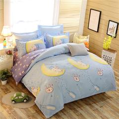 4Pcs Bedding Set(1 Duvet cover+1 Bed sheet+2 Pillow covers) Super Wash Padding Cotton Elasticity a-color as picture 2.0m (6.6 ft) bed