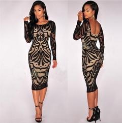 New Fashion Women Polyester Lace Print Slim O-Neck Long Sleeve Sexy Party Dress black m