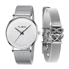 2-in-1 Women's Casual Quartz Watch + Diamond Bracelet Silver