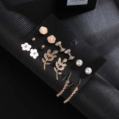 6 sets of roses diamond earrings fashion explosion jewelry set Stud earring set stud earring set one size