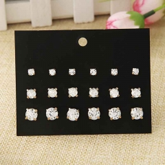 9 pairs of four-claw crystal diamond-inlaid earrings fashion explosion jewelry set Stud earring set stud earring set one size