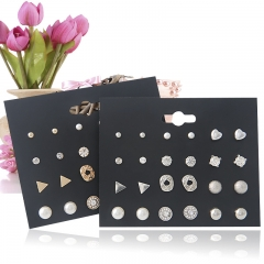 12 pairs of loving zircon pearls with earrings fashion explosion jewelry set Stud earring set stud earring set/silvery one size