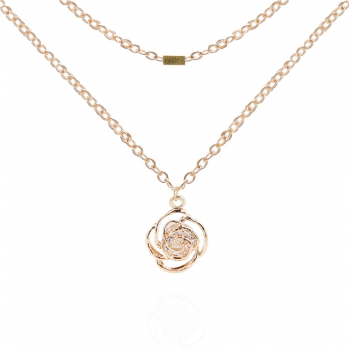 Double Necklace Personalized Metal Rose Pendant Rose Double Necklace