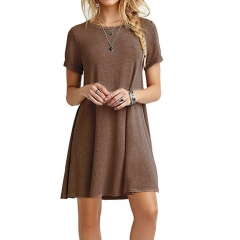 Women Summer Causual Soft Light Short-sleeved large-size pure-color dress Coffee L