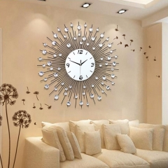 60x60cm Modern Luxury Large Art Round Diamond Wall Clock Home Living Room Decor