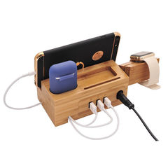 Multi-function wooden USB mobile phone holder watch bamboo wooden charging base with data cable ordinary 17*8*6cm 3 in 1 ordinary