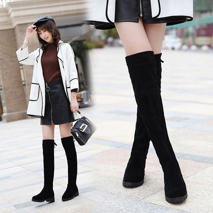 2fee0ef793e Hot Sale Fashion 2019 Women Black Long Elastic Over-knee Boots Sexy Ladies  Female Flat High Boots black 35