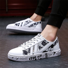 2019 New Coming Classic Retro Graffiti Letters Ins Trend Board Shoes Fashion Men Hot Wild Shoes white 39