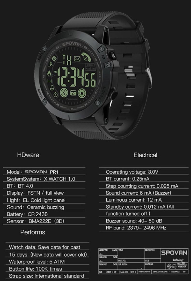 1PCS Smart Sport Watch Waterproof Alarm Stopwatch Mate Camera For IOS  Android Sport Smartwatches black