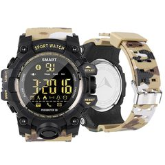 1PCS Smart Watch Men Camo Running Step Passometer Sleep Monitor Call Reminder Stopwatch Smartwatch camo yellow