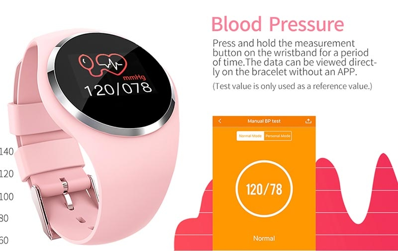 2019 Upgraded Fashion Smart Watch HR Blood Pressure Monitor Women  Physiological Reminder Smartwatch pink