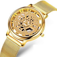Ultra-thin Business Hollow Watches Men Women Engraving Stainless Steel Mesh Belt Quartz Wrist Watch gold