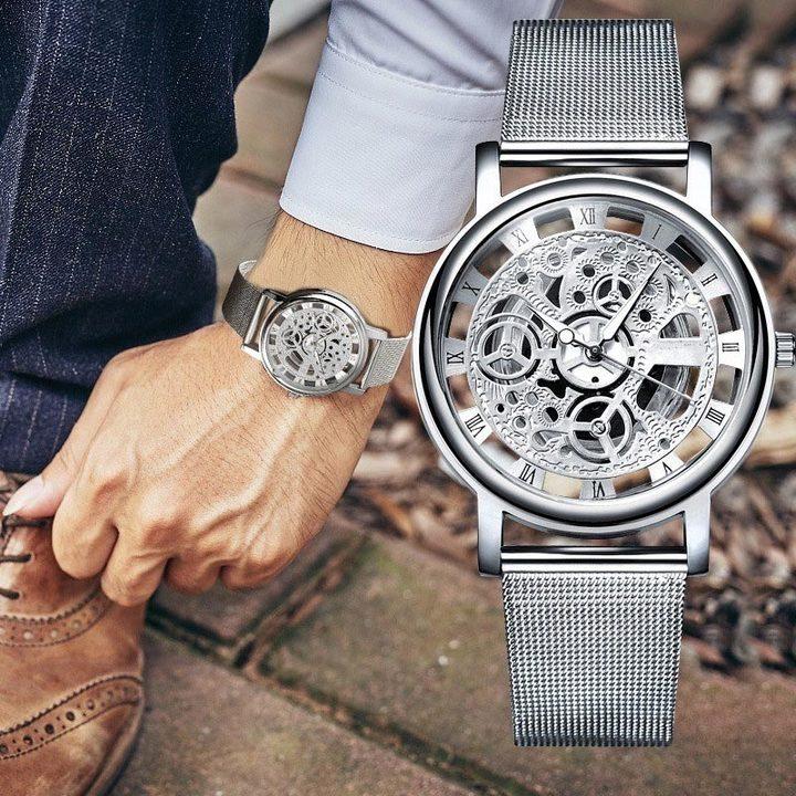 Ultra-thin Business Hollow Watches Men Women Engraving Stainless Steel Mesh Belt Quartz Wrist Watch silver