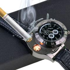 1 PCS Military Lighter Electronic Watch Windproof Flameless Cigarette Men Lighter Watches Men Watch black