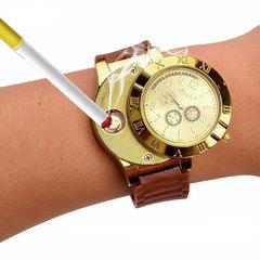 1 PCS Military Lighter Electronic Watch Windproof Flameless Cigarette Men Lighter Watches Men Watch brown