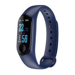 M3plus Waterproof Fitness Bracelet IPS Screen Heart Rate Monitor Smart Band Wristband Smartwatch blue