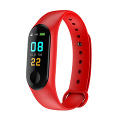M3plus Waterproof Fitness Bracelet IPS Screen Heart Rate Monitor Smart Band Wristband Smartwatch red