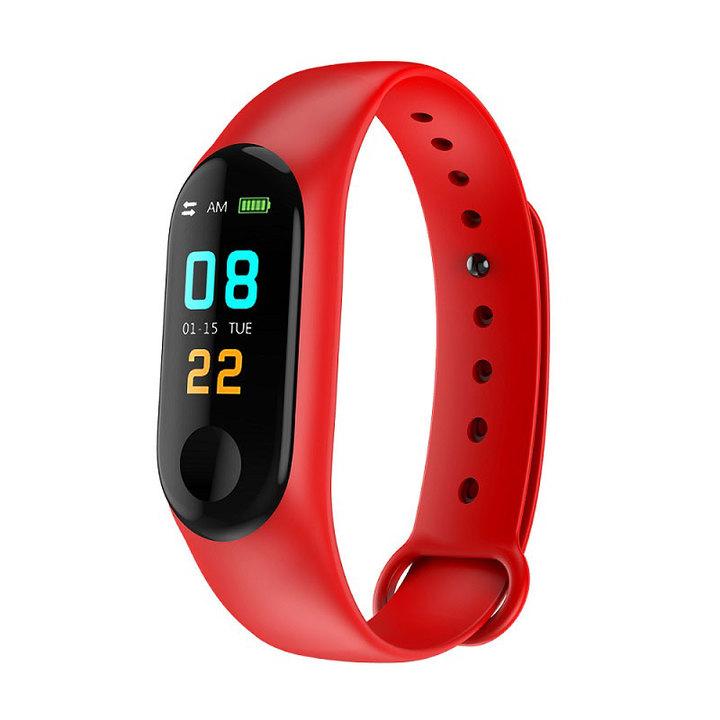 M3plus Waterproof Fitness Bracelet IPS Screen Heart Rate Monitor Smart Band Wristband Smartwatch red