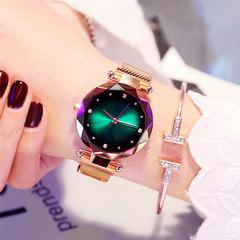 Luxury Rose Gold Women Watches Fashion Diamond Starry Sky Magnet Ladies Watch Wristwatch SGRASS GREEN