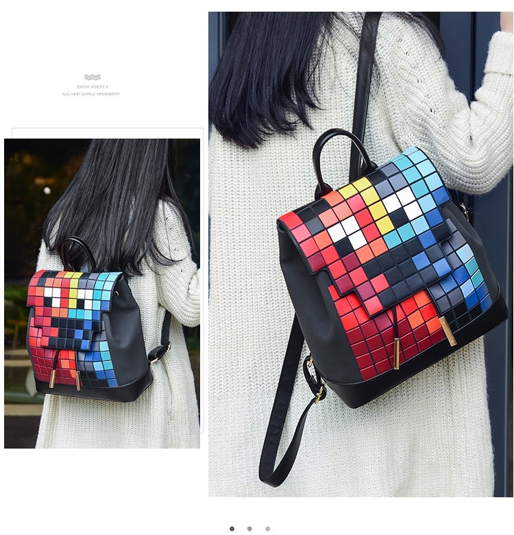 432addd3b039 Rainbow lattice Backpack fashion box bookpack Mosaic Bag shoulder bag  Rainbow lattice 30 13 32