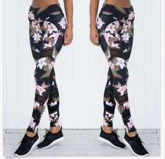 Women's new mesh stitching printing yoga stretch pants sweatpants Green flower xl white flowers s