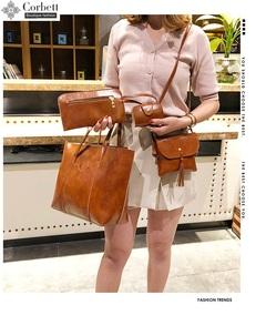 Corbett 2019 new 4pcs/set PU set bag woman fashion handbag casual large bag  red black 44*12*28cm