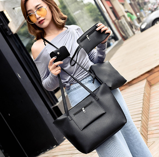 Corbett 2019 new 4pcs/set PU Litchi pattern handbag casual set bag woman casual  shoulder bag black black 41*10*27cm