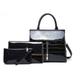 2019 new 3pcs/set  Patent leather set bag  Bright side  shoulder Women's handbag black 29.5*13*37cm