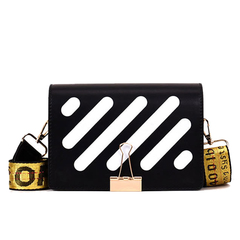 2019 New Pu Leather Stripe Messenger Bags Women Messenger Bags Fashion black 19*7*15cm