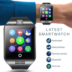 Bluetooth Smart Watch Q18 With Camera Facebook Sync SMS Smartwatch Support SIM TF Card IOS Android black