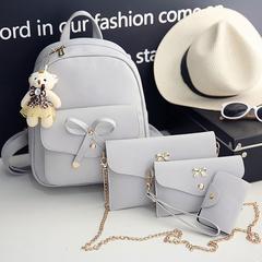 4 pcs/Set Women Backpack Small Size Fashion Teenage Girls PU Leather Backpacks with Purses gray one size