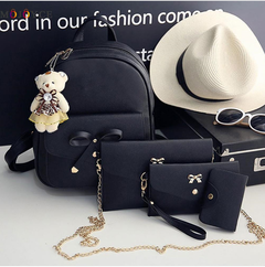 4 pcs/Set Women Backpack Small Size Fashion Teenage Girls PU Leather Backpacks with Purses black one size