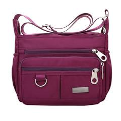 Women Fashion Solid Color Zipper Waterproof Nylon Shoulder Bag Handbags,Shoulder Bag purple 25cm*19cm*9cm