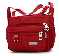 Women Fashion Solid Color Zipper Waterproof Nylon Shoulder Bag Handbags,Shoulder Bag red 25cm*19cm*9cm
