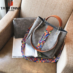 TATA Boom Promotion in 2019, Good Quality and Low Price, 2pcs Set Retro Female Handbag Shoulder Bag gray one size