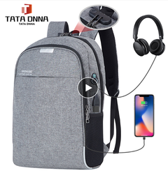 Anti theft Men Laptop Backpacks Waterproof USB Charging Brand Design Backpack Business Travel Bag gray one size