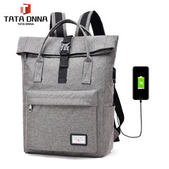 TATA 2019 Hot Sale Canvas Bag Business Laptop Backpack,USB Charge Men Laptop Backpack light grey Dark grey one size