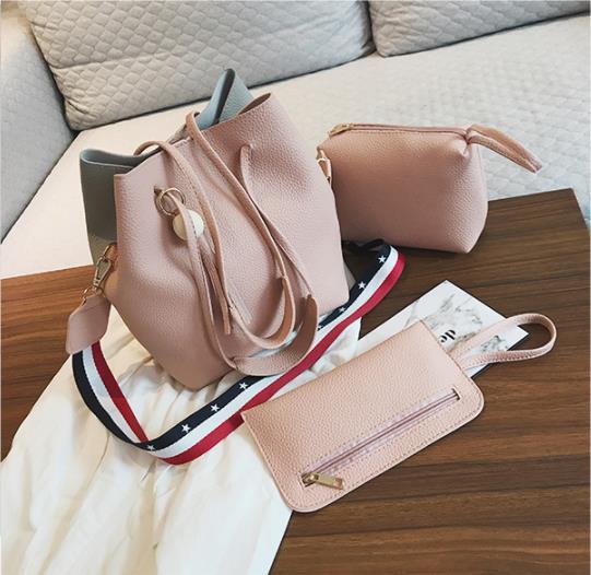Women Bag Handbag Purse Ladies PU Leather Crossbody Bag 3Pcs/Leisure bag capacity big bag wholesale pink 22cmx25cmx16cm