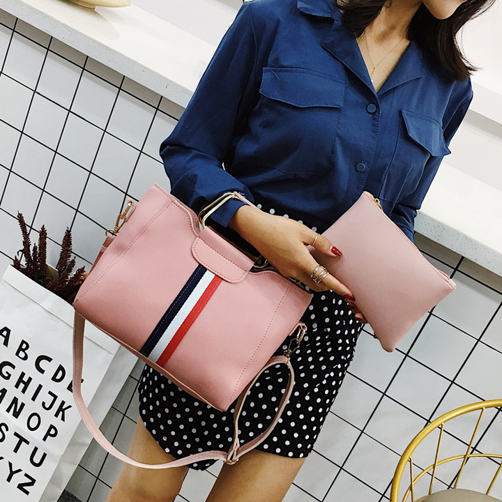 Women Bag Handbag Purse Ladies PU Leather Crossbody Bag 2Pcs/Leisure bag capacity big bag wholesale pink 22cmx21cmx10cm