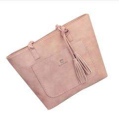 TATA Women Large Casual Tote Woven Handle Tassel Handbags Female Big Single Shoulder Bag Female pink one size