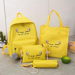Cute WeekendTravel Bag School Backpack for Girls Canvas Fashion Casual Four Piece Set Letter Bags Yellow one size
