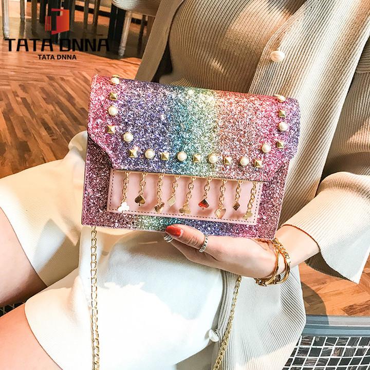 TATA New Fashion Women Shoulder Bag Chain Strap Handbags Clutch Bag Ladies Messenger Bags color one size