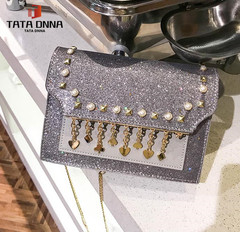 TATA New Fashion Women Shoulder Bag Chain Strap Handbags Clutch Bag Ladies Messenger Bags silver one size