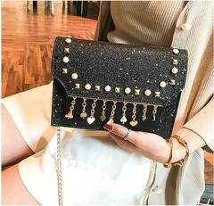 TATA New Fashion Women Shoulder Bag Chain Strap Handbags Clutch Bag Ladies Messenger Bags black one size
