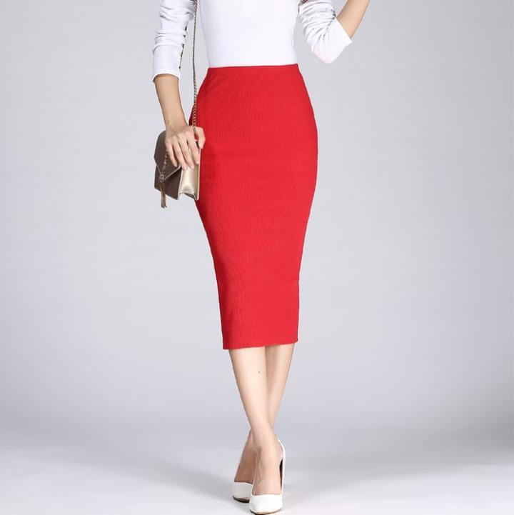 TATA Long Pencil Skirts Women Sexy Slim Package Hip Maxi Skirt Lady office lady skirts free red free size